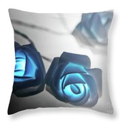 Blue Roses Shine Throw Pillow