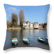 Blue Rowing Boats On The Thames At Hampton Court London Throw Pillow