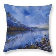 Blue Sail, Watercolor Painting Throw Pillow