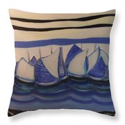 Blue Sailing Boats In The Harbour Throw Pillow