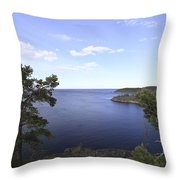 Blue Sea And Pine Trees Throw Pillow