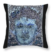 Blue Self Portrait Throw Pillow