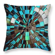 Blue Shiny Stones Gems In A Circular Pattern Throw Pillow