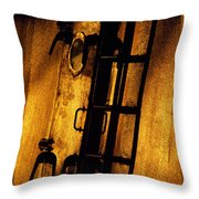 Blue Ship Hatchway At Sunrise Throw Pillow