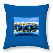 Blue Shrimp Boats Throw Pillow