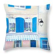 Blue Shutters Arles France Throw Pillow