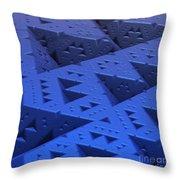 Blue Sierpinski Throw Pillow
