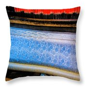 Blue Silk Machine Throw Pillow