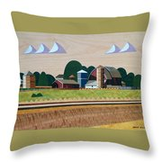 Blue Silo-marquetry-image Throw Pillow
