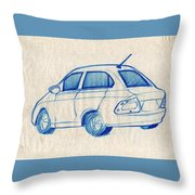 Blue Sketch Of A Car From Left Rear View With A Rear Aerial  Throw Pillow