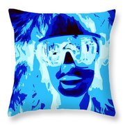 Blue Skier Bob Throw Pillow