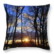 Blue Skies And Golden Sun Throw Pillow