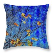 Blue Skies And Last Leaves Of Fall Throw Pillow