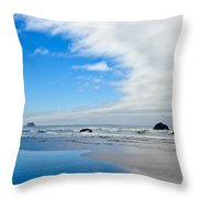 Blue Sky Beaches Throw Pillow