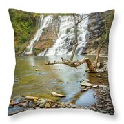 Blue Skies Over Ithaca Falls Throw Pillow