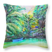 Blue Skiff Throw Pillow