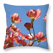 Blue Sky Art Prints Pink Dogwood Flowers 16 Dogwood Tree Art Prints Baslee Troutman Throw Pillow