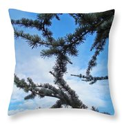 Blue Sky Art Prints White Clouds Conifer Pine Branches Baslee Troutman Throw Pillow