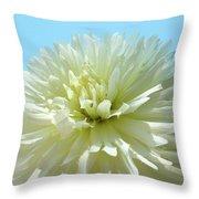 Blue Sky Art White Dahlia Flower Floral Prints Baslee Troutman Throw Pillow
