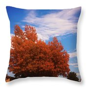 Blue Sky Autumn Throw Pillow