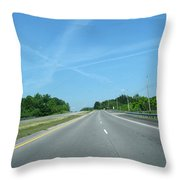 Blue Sky Empty Road Throw Pillow