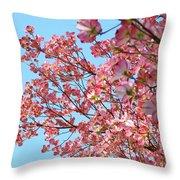 Blue Sky Floral Art Print Pink Dogwood Tree Flowers Baslee Troutman Throw Pillow