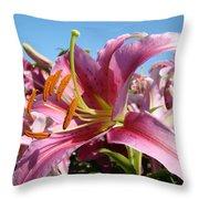 Blue Sky Floral Landscape Pink Lilies Art Prints Canvas Baslee Troutman Throw Pillow