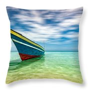 Blue Sky, Green Water And Iconic Boat Throw Pillow