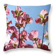 Blue Sky Landscape White Clouds Art Prints Pink Dogwood Flowers Baslee Troutman Throw Pillow