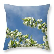 Blue Sky White Clouds Landscape Art White Tree Blossoms Spring Throw Pillow