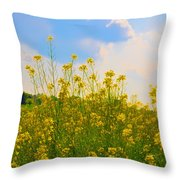 Blue Sky Yellow Flowers Throw Pillow