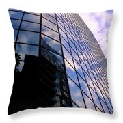 Blue Skyscrapper With A Blue Sky In New Orleans Louisiana Throw Pillow