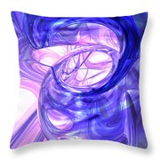 Blue Smoke Abstract Throw Pillow
