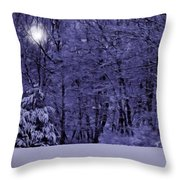 Blue Snow Throw Pillow
