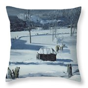 Blue Snow, The Battery Throw Pillow