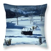 Blue Snow. The Battery Throw Pillow