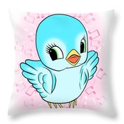 Blue Song Bird Throw Pillow
