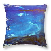 Blue Space Water Throw Pillow