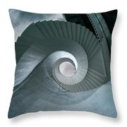 Blue Spiral Stairs Throw Pillow