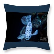 Blue Spotted Aquarium Fish Throw Pillow