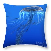 Blue Spotted Jellyfish Throw Pillow
