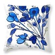 Blue Spray Throw Pillow