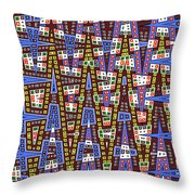 Blue Squares With Dots Throw Pillow
