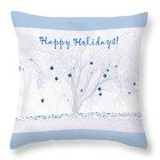 Blue Star Tree Throw Pillow