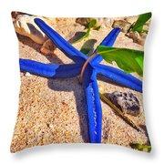 Blue Starfish Throw Pillow
