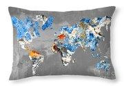 Blue Street Art World Map Throw Pillow