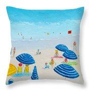 Blue Striped Umbrellas Throw Pillow