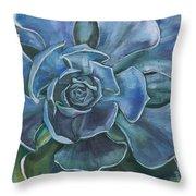 Blue Succulent Throw Pillow
