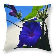 Blue Summer Flower Throw Pillow