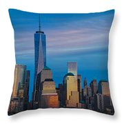 Blue Sunset At The World Trade Center Throw Pillow